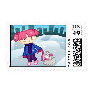 Libbi And Suki: A Walk In the Winter Postage Stamp