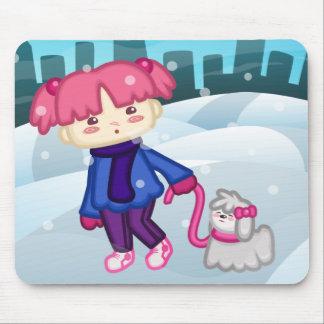 Libbi And Suki: A Walk In Winter Mousepad