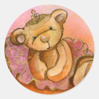 Libby Ballet Bear Button Badge Classic Round Sticker