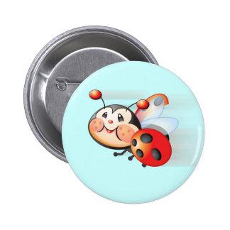 Libby el botón de la mariquita pin redondo de 2 pulgadas