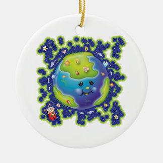 Libby el ornamento del Día de la Tierra de la Adorno Navideño Redondo De Cerámica