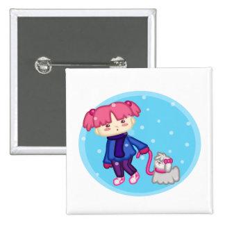 Libby y Suki: Invierno Pin Cuadrada 5 Cm