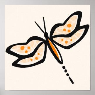Libélula anaranjada poster