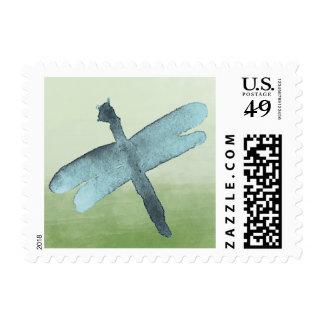 Libélula azul de la acuarela sellos
