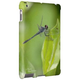 Libélula azul en el caso del iPad de las hojas Funda Para iPad