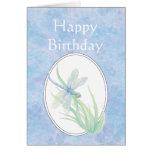 Libélula azul hermosa del feliz cumpleaños tarjetón