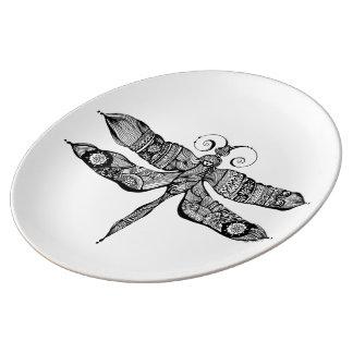 Libélula banal platos de cerámica