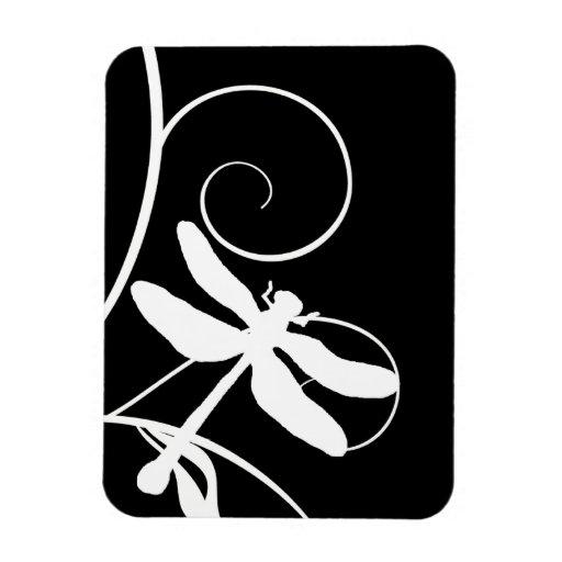Libélula blanco y negro imanes rectangulares