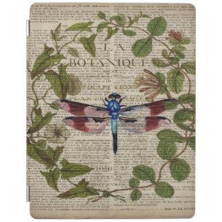 libélula botánica francesa del vintage del arte cubierta de iPad