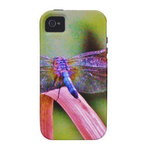 Libélula brillante del rosa de arco iris iPhone 4 carcasas