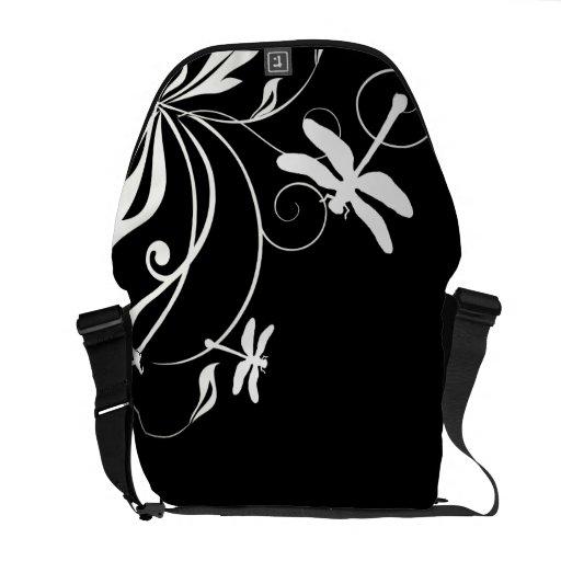 Libélula caprichosa blanco y negro bolsa messenger