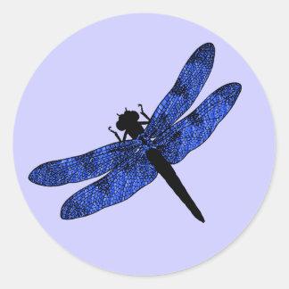 Libélula coa alas azul etiquetas redondas