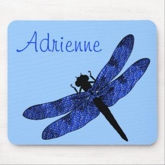 Libélula coa alas azul personalizada tapete de raton