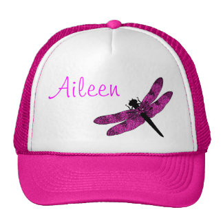 Libélula coa alas rosa gorras de camionero