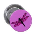 Libélula coa alas rosa pin redondo 5 cm