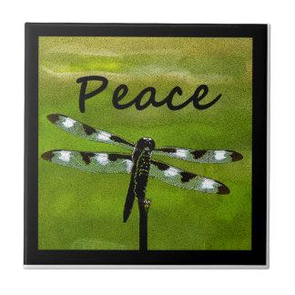 Libélula de la paz azulejo cuadrado pequeño