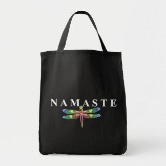 Libélula de Namaste fondo oscuro Bolsas