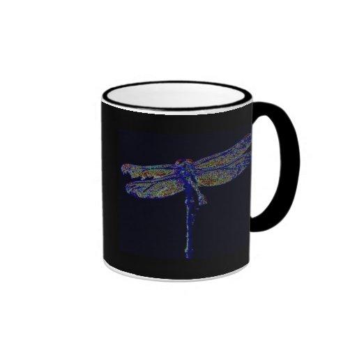 Libélula de neón taza de café