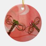 libélula de oro de la plata china del nudo adornos de navidad