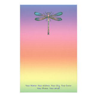Libélula del arco iris papeleria de diseño