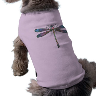 Libélula del arco iris playera sin mangas para perro