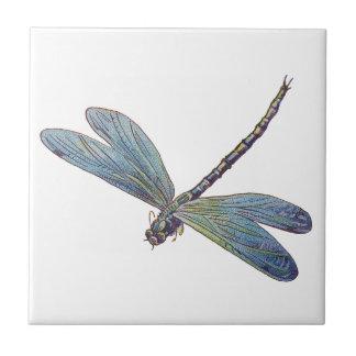 Libélula del azul del vintage azulejo cuadrado pequeño