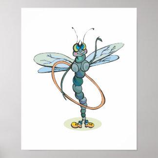 libélula divertida del aro del hula póster