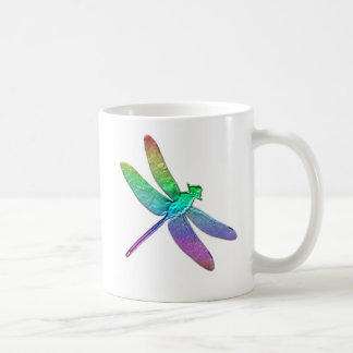 Libélula dos del arco iris taza de café
