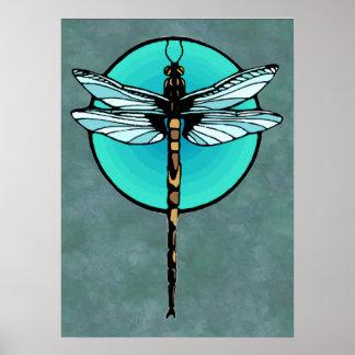 Libélula en círculo de la turquesa póster