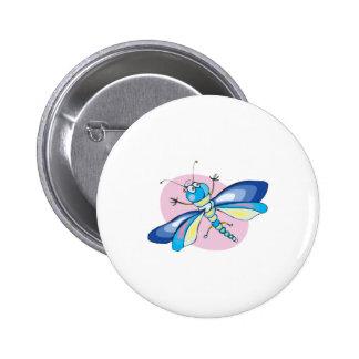 libélula en colores pastel feliz linda pin redondo 5 cm