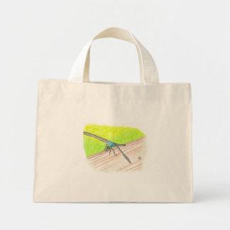 Libélula en la acuarela, bolsos de la lona bolsa