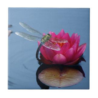 Libélula en la flor de Lotus Azulejo Cuadrado Pequeño