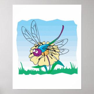 libélula feliz linda en la flor impresiones