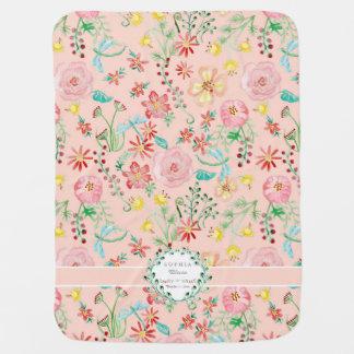 Libélula floral personalizada de la acuarela de la mantitas para bebé