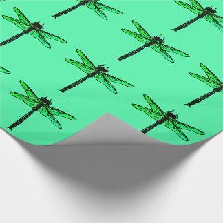Libélula japonesa del vintage, verde esmeralda papel de regalo