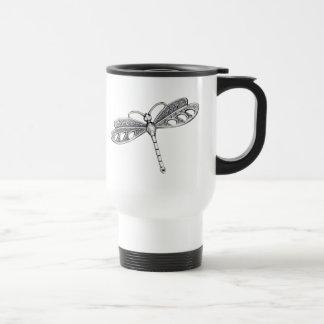 Libélula metálica de plata tazas de café