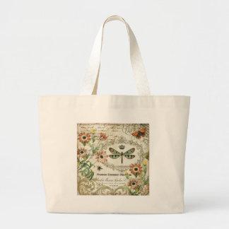 Libélula moderna del francés del vintage bolsas lienzo
