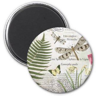 libélula moderna del francés del vintage imán redondo 5 cm