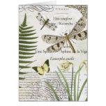 libélula moderna del francés del vintage tarjeta de felicitación