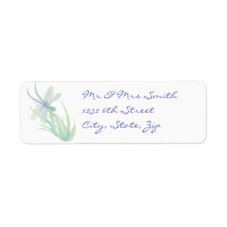 Libélula original de la acuarela en azul y verde etiquetas de remite