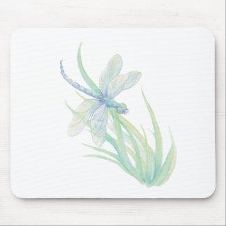 Libélula original de la acuarela en azul y verde tapete de raton