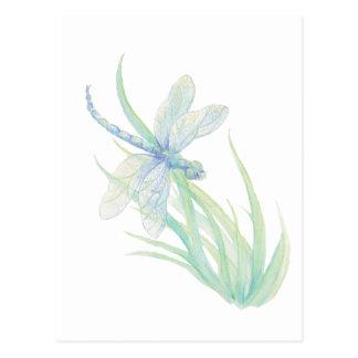 Libélula original de la acuarela en azul y verde postal