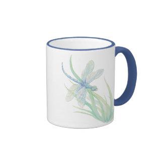 Libélula original de la acuarela en azul y verde taza