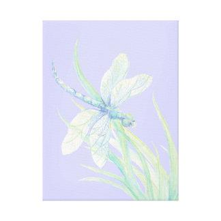 Libélula original del verde azul de la acuarela impresiones en lienzo estiradas