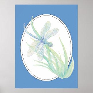 Libélula original del verde azul de la acuarela póster