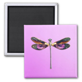 Libélula - plata oro púrpura y negro