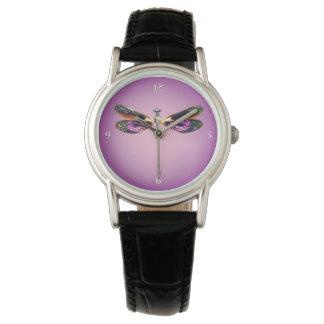 Libélula - plata, oro, púrpura y negro reloj de mano