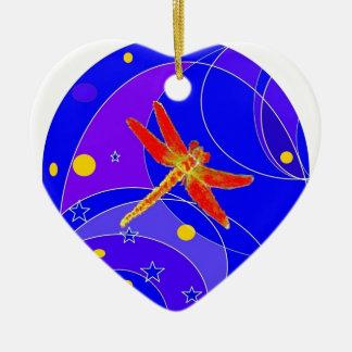 Libélula roja celestial por Sharles Adorno Navideño De Cerámica En Forma De Corazón