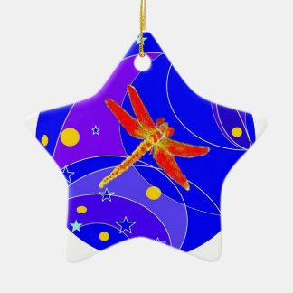 Libélula roja celestial por Sharles Adorno Navideño De Cerámica En Forma De Estrella