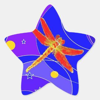 Libélula roja celestial por Sharles Pegatina En Forma De Estrella